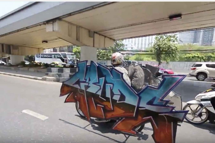 Crude Graffiti Motorbike